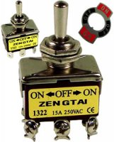 3 Position 6 Blade Toggle Switch On/Off/On 15Amp