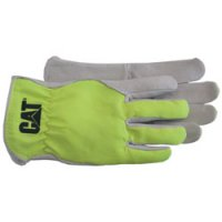 GLOVE GRAIN PIG PALM W/ FLR.GRN.BACK LRG