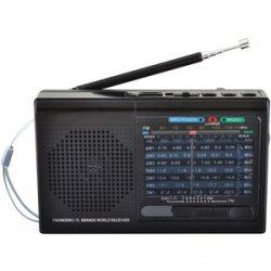 9-band Rechargeable Bluetooth Radio With USB/SD Card Input Black