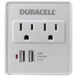 2-outlet Surge Protector With 2 USB Ports White