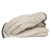 Grain Pigskin Leather Driver Gloves with Shirred Elastic Wrist Medium
