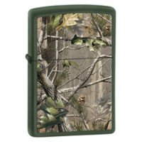Green Matte Finish Lighter with Realtree Hardwoods Camouflage Design