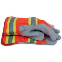 High Visibility Split Cowhide Leather Work Gloves, Large