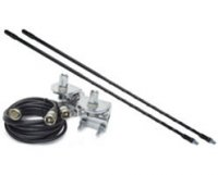 4' Top Loaded Dual CB Antenna with Mirror Mounts & Cable - 750 Watt x 2, Black