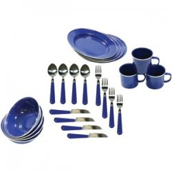 Enamel Camping 24-piece Tableware Set