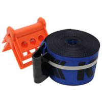 4x30' Blue Winch Strap With Flat Hook And Corner Protectors