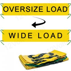 "18"" x 84\"" Oversize Load & Wide Load Reversible Banner w/Nylon Ropes"