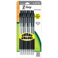 Z-Grip Max Retractable Pen with Wide Barrel & Soft Rubber Grip - Black 7-Pack