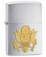 Army Crest Emblem Brushed Chrome Finish Lighter - Standard Issue Series