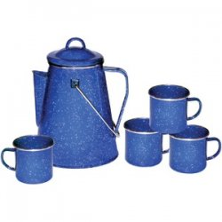 Enamel 8-cup Coffee Pot With Percolator & Four 12oz Mugs