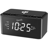Clock Radio With Qi Wireless Charging Station Black