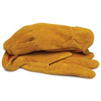 Split Leather Gloves with Red Fleece Lining and Elastic Wrist X-Large