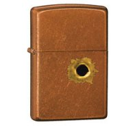 Bullet Hole Design Lighter with Brushed Chrome Toffee Finish