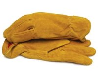 Split Leather Gloves with Red Fleece Lining and Elastic Wrist - Large 1 Pair