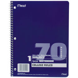 1 Subject College Ruled Spiral Notebook - 70 Sheets