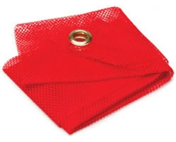 "18"" x 18\"" Red Mesh Warning Flag with Grommets"