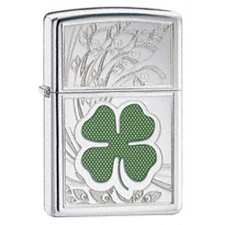 High Polish Chrome Finish Lighter with 4 Leaf Clover