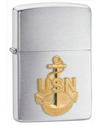 Navy Anchor Emblem Brushed Chrome Finish Lighter - Standard Issue Series