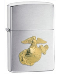 Marines Crest Emblem Brushed Chrome Finish Lighter - Standard Issue Series