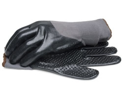 Nitrile Gloves with Dotted Palm and Knit Wrist - Large 1 Pair
