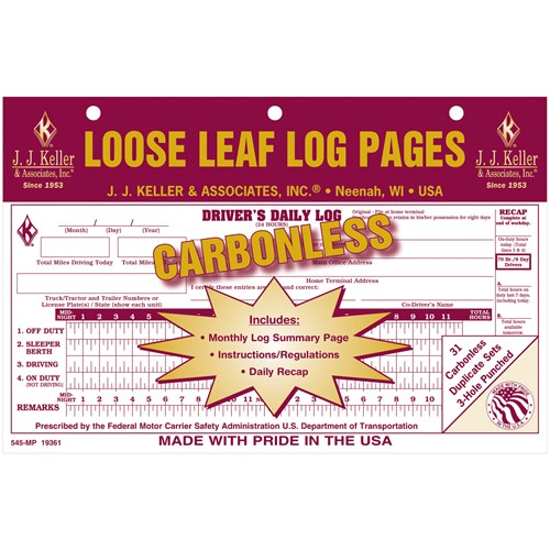 Carbonless Loose Leaf Log 2-Copy 31-Sets