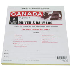 Canadian, 2-in-1 Driver\'s Daily Log Book with Recap & Detailed DVIR, Carbonless