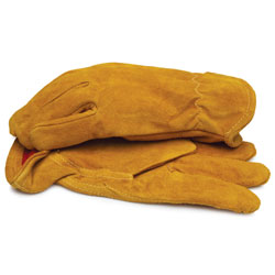 Split Leather Gloves with Red Fleece Lining and Elastic Wrist 2XL