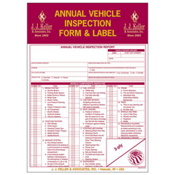 J J Keller 9mp Annual Vehicle Inspection Report And Label