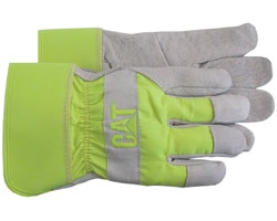 Leather Palm Work Gloves w/Fluorescent Green Back & Rubberized Cuff - Large
