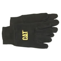 Heavy Black Jersey Glove with PVC Micro Dot Palm & CAT Logo - Large