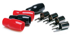 10-Gauge Barrier Strip Style Spade Terminals - Midnight Chrome 4-Pk (2Bk/2Red)