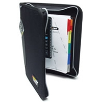 "Deluxe Organizer w/Log Book Holder & Slide Rule - Black, Zippered, 8.5""x11.25"""