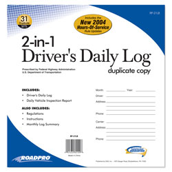 2-In-1 Driver\'s Daily Log Book with 31 Duplicate Sets (Carbon)