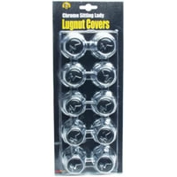 "1.5"" Flanged Chrome Plated ABS Plastic Lug Nut Covers - Sitting Lady, 10-Pack"