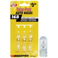 Heavy Duty Automotive Replacement Bulbs - #168, Clear, 6-Pack Value Pack