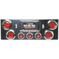 "Rear Light Panel with (4) 4"" & (3) 2.5\"" LED Lights and Chrome ABS Plastic Visors"