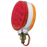 "4"" Double Face LED Stop/Turn Light Assembly w/Chrome Assembly - Red/Amber Lens"