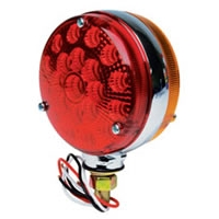 "LED 4"" Double-Face Stop/Turn Light Assembly w/Chrome Back - Red/Amber, Carded"