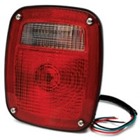 "6.75"" x 5.75"" Tail Light Assembly with Replaceable Bulb - Red/Clear"