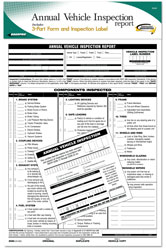 Annual Vehicle Inspection Report Sheet with Duplicate Copies and Sticker