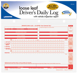 Loose Leaf Driver\'s Daily Log Sheets w/31 Duplicate Sets & Inspection Report
