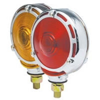 "4"" Double-Face Stop/Turn Light with Chrome-Frame Assembly - Red/Amber Lens"