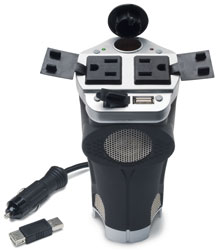 200 Watt DC to AC Cup Holder Design Power Inverter with USB Port & 2 AC Outlets