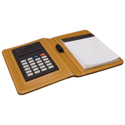 "4"" x 6\"" Side-Open Note Pad Holder with Calculator - Brown"