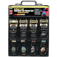 "1"" x 15\' Ratchet Tie Down 4-Piece Set with Anti-Scratch Hooks - Camouflage"