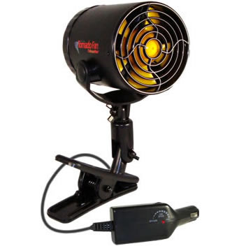 "12 Volt ""Tornado Fan\"" with Removable Mounting Clip"