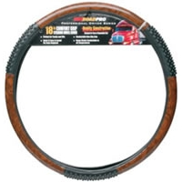 "18"" Comfort Grip Steering Wheel Cover - Black Woodgrain Massage"