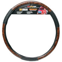 "20"" Comfort Grip Steering Wheel Cover - Black Woodgrain Massage"