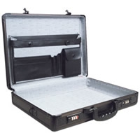 Black Aluminum Briefcase Raised Rib Surface