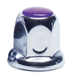 33mm Flanged Chrome Plated Lug Nut Cover - Purple Color Reflector, Bulk